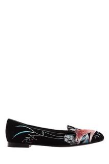 Черные лоферы с вышивкой Christian Dior