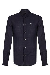 Темно-синяя льняная сорочка Emporio Armani