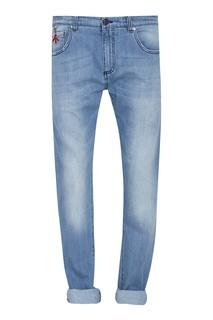 Серо-голубые джинсы с отворотами Isaia