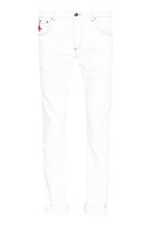 Белые джинсы с контрастной строчкой Isaia