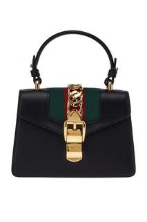 Кожаная сумка с цепью по центру Sylvie Gucci