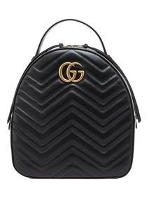 Черный кожаный рюкзак GG Marmont Gucci