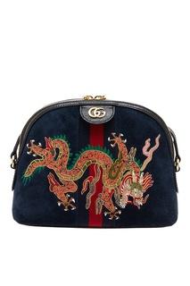 Замшевая сумка с драконом Ophidia Gucci