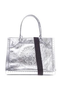 Серебристая кожаная сумка Le Panier Balmain