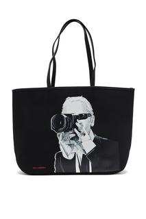 Черная сумка-тоут с портретом Karl Lagerfeld