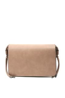 Бежевая сумка на широком ремне с узором Marina Rinaldi