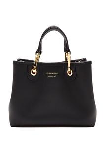 Черная сумка с золотистой фурнитурой Emporio Armani
