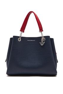 Темно-синяя сумка с красными ремешками Emporio Armani