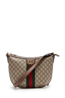 Коричневая сумка с лентой Web Gucci