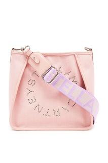 Розовая льняная сумка Stella Logo