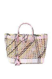 Плетеная сумка-тоут с анималистичным принтом Ermanno Scervino