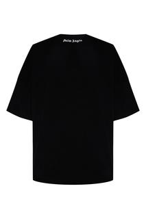 Черная футболка оверсайз с логотипами Palm Angels