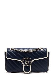 Бело-синяя кожаная сумка GG Marmont Gucci