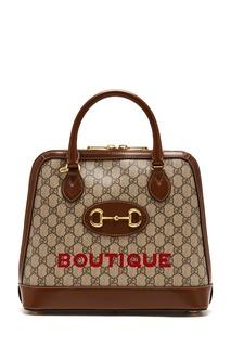 Коричневая сумка с пряжкой Gucci