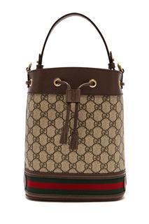 Коричневая сумка с отделкой Gucci
