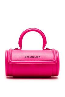 Кожаная мини-сумка цвета фуксии Balenciaga