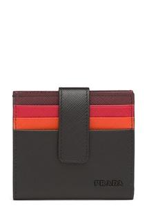Черная визитница с красной отделкой Prada