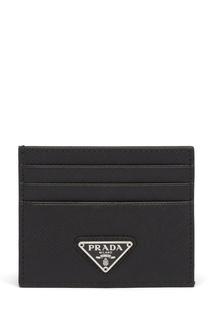 Черная кожаная визитница с логотипом Prada