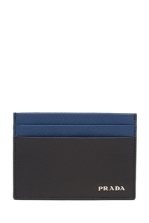 Черная визитница с синей отделкой Prada