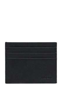 Черная кожаная визитница с тисненым логотипом Prada