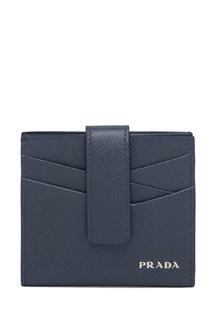 Синяя кожаная визитница Prada