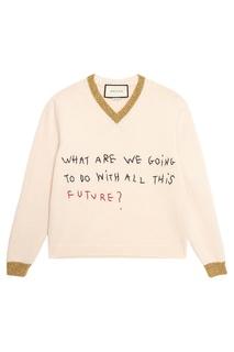 Шерстяной пуловер с вышитой надписью Gucci