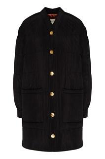 Черное пальто из вискозы и шелка Gucci