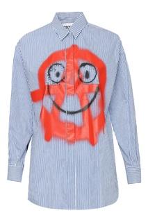 Голубая рубашка с рисунком Moschino