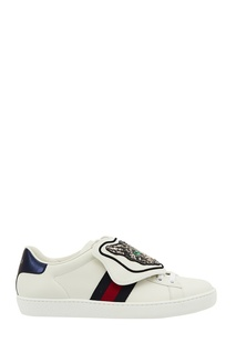 Белые кроссовки с пайетками Gucci