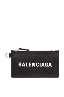 Черная кредитница из кожи Balenciaga