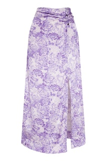 Сиреневая юбка с разрезом Ganni