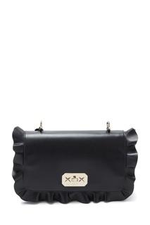 Черная кожаная сумка Rock Ruffles RED Valentino