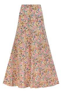 Шелковая юбка-трапеция с цветочным принтом The Vampires Wife