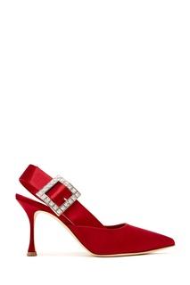 Красные сатиновые туфли Ninutra 90 Manolo Blahnik