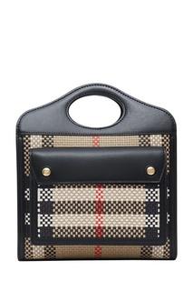 Миниатюрная сумка Pocket из плетеной кожи Burberry