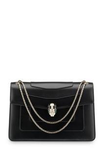 Черная кожаная сумка на цепочке Serpenti Forever Bvlgari
