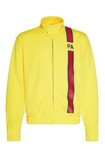 Желтая олимпийка с контрастным принтом Palm Angels