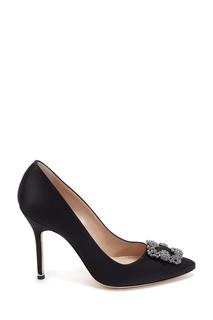 Черные сатиновые туфли Hangisi 105 Manolo Blahnik
