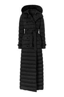 Черное пуховое пальто Burberry