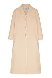 Бежевое пальто из денима Prada