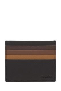 Черная визитница с коричневой отделкой Prada
