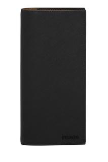 Черное портмоне из кожи Saffiano Prada