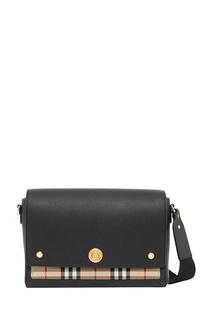 Черная кожаная сумка-кроссбоди Burberry