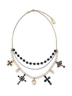 Dolce & Gabbana золотое колье Family с сапфиром и жемчгом