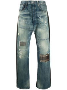 Junya Watanabe MAN широкие джинсы с нашивками