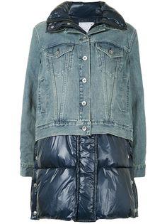 Sacai стеганое пальто со вставкой из денима