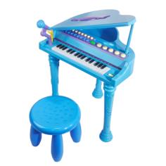 Детское пианино со стульчиком Lezile 2669-3205A голубое, 32 клавиши