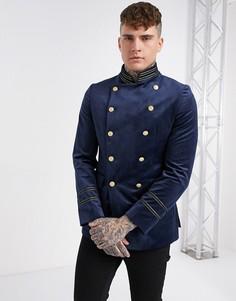 Двубортный бархатный пиджак скинни в стиле милитари с воротником-стойкой Devils Advocate-Темно-синий