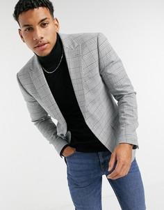 Серый приталенный пиджак в клетку Topman