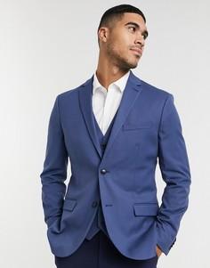 Синий зауженный пиджак Topman